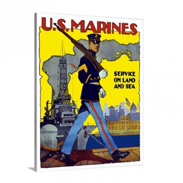 Digitally Restored Vector War Propaganda Poster U S Marines Service On Land And Sea Wall Art - Canvas - Gallery Wrap