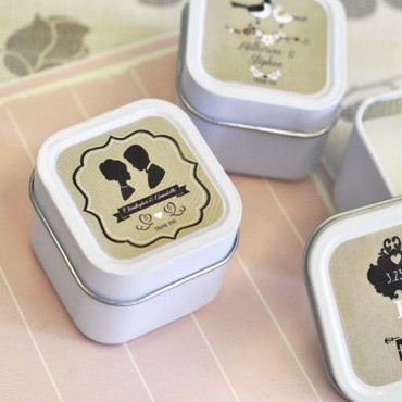 Vintage Wedding Personalized Square Candle Tins - 24 Pieces