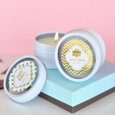 Personalized Metallic Foil Round Candle Tins - Birthday - 24 Pieces