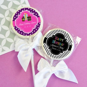 Personalized Birthday Lollipop Favors - 24 Pieces