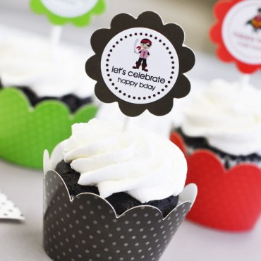 Personalized MOD Kid's Birthday Cupcake Wrappers & Cupcake Toppers - Set of 24