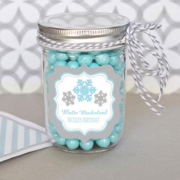 Personalized Winter Wonderland Party Mini Mason Jars - 24 Pieces