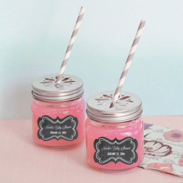 Chalkboard Baby Shower Personalized Mason Jar Drinking Glasses with Flower Cut Lids - 24 Pieces