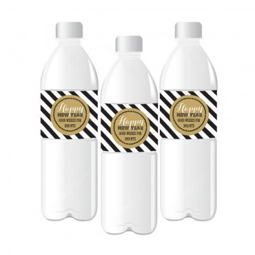 Personalized New Years Eve Party Water Bottle Labels - 24 Pieces