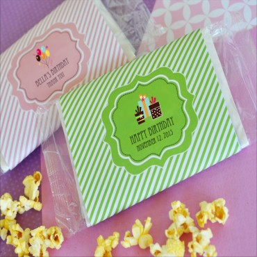 Personalized Birthday Microwave Popcorn Bags - 24 Pieces