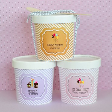 Personalized Birthday Mini Ice Cream Containers - 24 Pieces