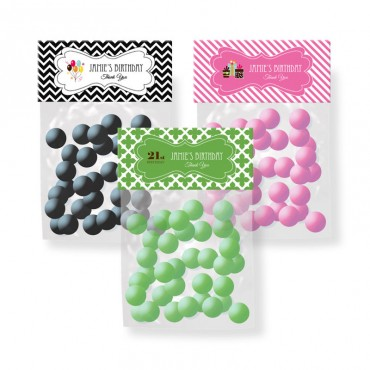 Personalized Birthday Candy Bag Toppers - 24 Pieces