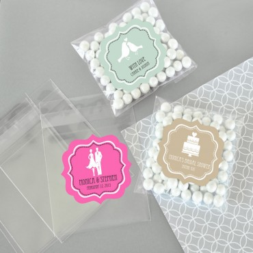 Personalized MOD Theme Silhouette Clear Candy Bags - Set of 24