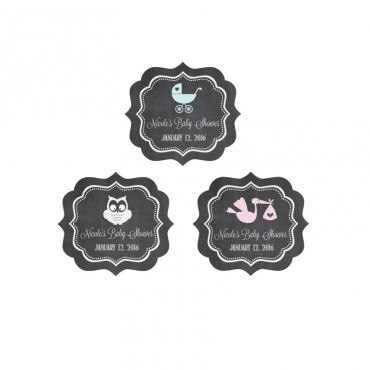 Chalkboard Baby Shower Personalized Frame Labels - 24 Pieces