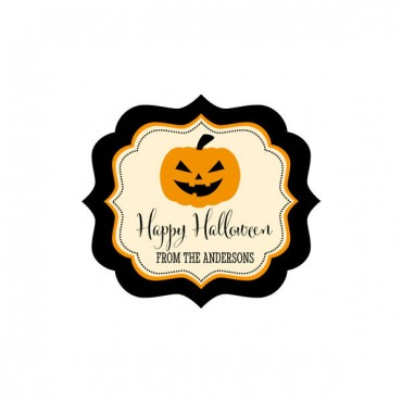 Personalized Classic Halloween Frame Labels - 24 Pieces
