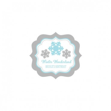 Personalized Winter Wonderland Party Frame Labels - 24 Pieces