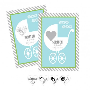 Blue Baby Carriage Scratch Off Game Cards - Set of 12
