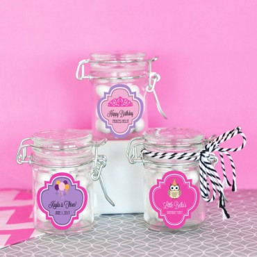 Personalized Kid's Birthday Glass Jar with Swing Top Lid - MINI - 24 Pieces