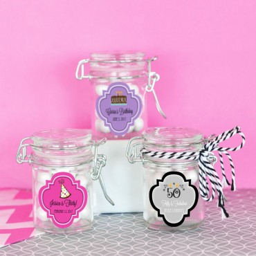 Personalized Birthday Glass Jar with Swing Top Lid - MINI