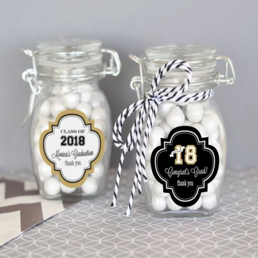 Personalized Graduation Glass Jar with Swing Top Lid - SMALL - 24 Pieces