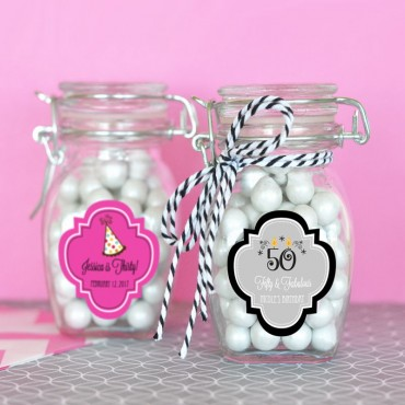 Personalized Birthday Glass Jar with Swing Top Lid - SMALL - 24 Pieces