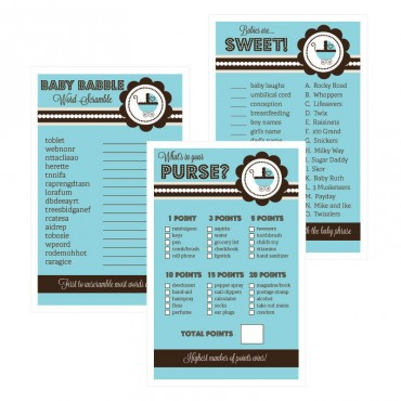 Baby Shower Games - Set of 10 - Blue Baby Shower
