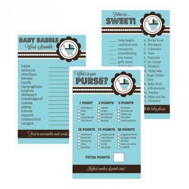Baby Shower Games - Set of 10 - Blue Baby Shower