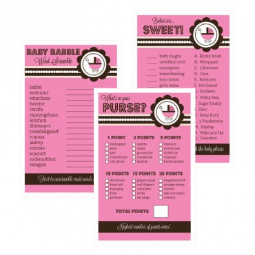 Baby Shower Games - Set of 10 - Pink Baby Shower