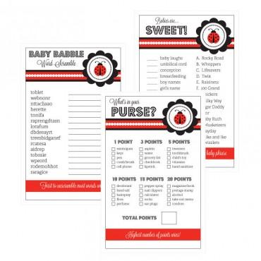 Baby Shower Games - Set of 10 - Ladybug