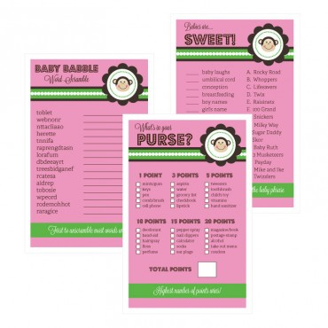 Baby Shower Games - Set of 10 - Pink Monkey