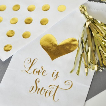 Love is Sweet Gold Foil Candy Buffet Bags - Set of 12