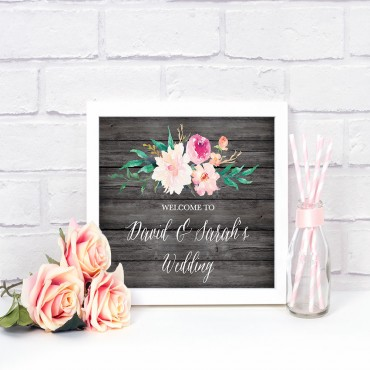 Floral Garden Custom Text Wedding Sign