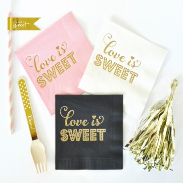 Metallic Gold LOVE IS SWEET Napkins - Set of 25