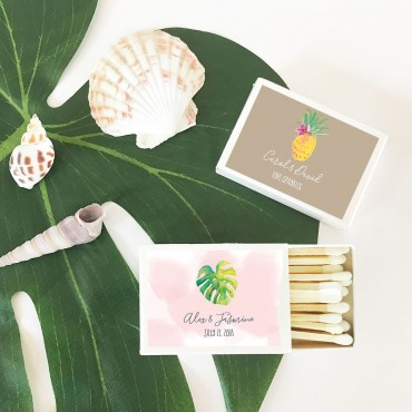 Personalized Tropical Beach Match Boxes - Set of 50