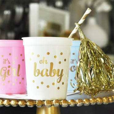 Gold BABY Shower Party Cups - Set of 25