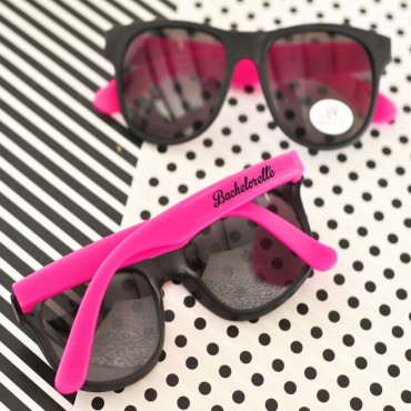 Hot Pink & White Bachelorette Party Sunglasses - Set of 6