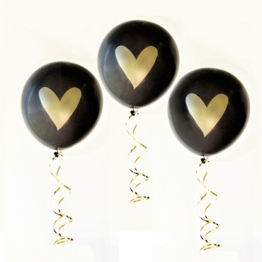 Gold HEART Party Balloons - Set of 3