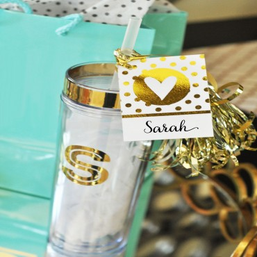 Metallic Gold Monogram Tumblers