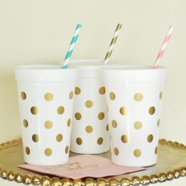 White & Gold Polka Dot Party Cups w/Lids - Set of 25