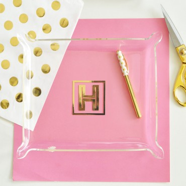 Gold Monogram Jewelry Tray
