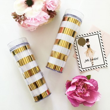 Blank Gold Striped Tall Tumblers