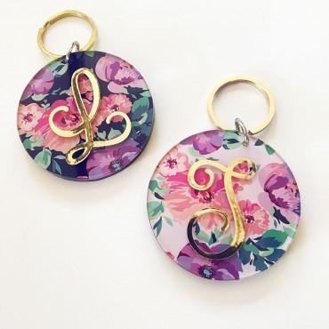 Floral Monogram Keychains