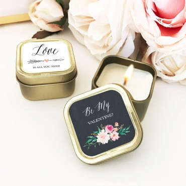 Personalized Floral Garden Gold Square Candle Tins - Set of 24