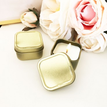 Gold Square Candle Tins - BLANK
