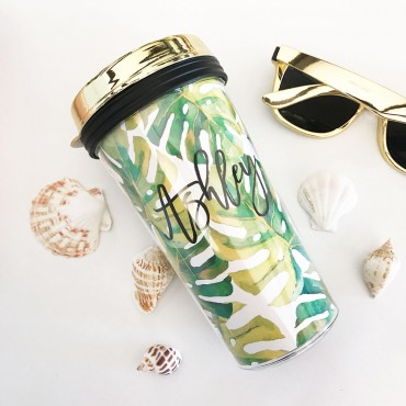 Personalized Tropical Beach Travel Tumblers - Gold Lid