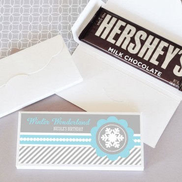 Personalized Winter Wonderland Party Candy Wrapper Covers - 24 Pieces
