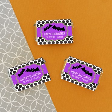 Personalized Spooky Halloween Mini Candy Bar Wrappers - 24 Pieces