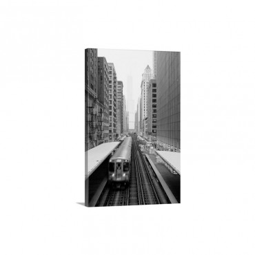 Elevated Rail In Downtown Chicago Over Wabash And Trump Tower In Background Wall Art - Canvas - Gallery Wrap