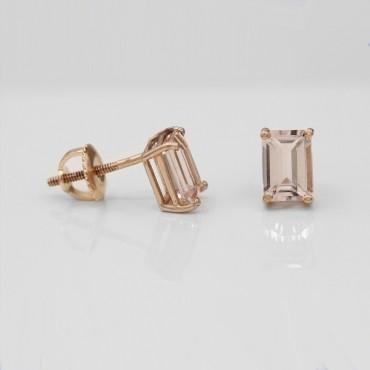2.00CT Emerald Cut Morganite Earring Studs