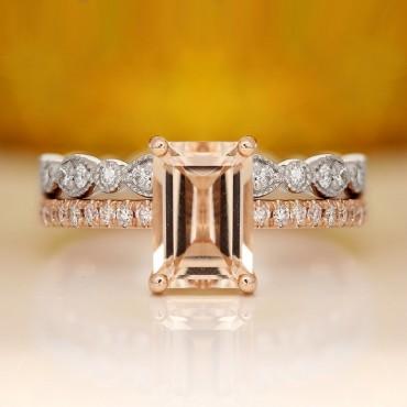 2.00CT Emerald Cut Morganite In Rose Gold