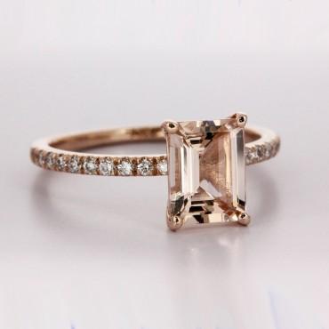 2.00CT Emerald Cut Morganite In Rose Gold Diamond Setting