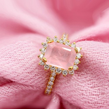 2.00CT Emerald Cut Pink Quartz