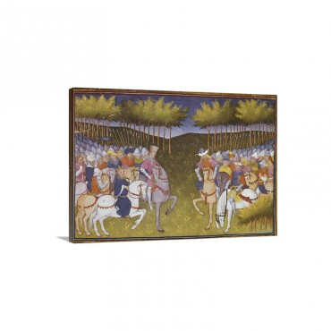 Encounter Of Two Armies 14th C Painting Wall Art - Canvas - Gallery Wrap