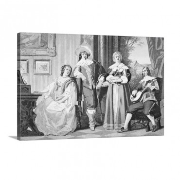 English Cavalier Costume Around 1670 During The Reign Of Charles I I Wall Art - Canvas - Gallery Wrap