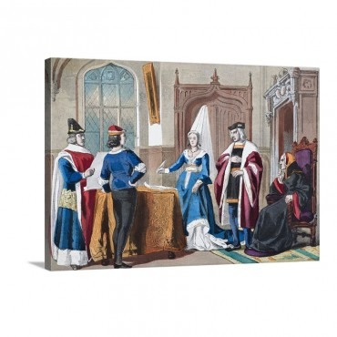 English Costumes From Late Fifteenth Century Wall Art - Canvas - Gallery Wrap